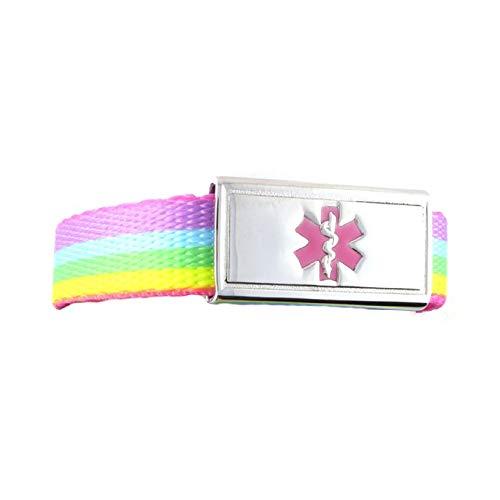 Medical Alert Bracelet   Adjustable up to 6.5' Wrist Size   Free Engraving   1 Bracelet, 1 Custom Stainless Steel Laser Engraved Tag   Rainbow Lights