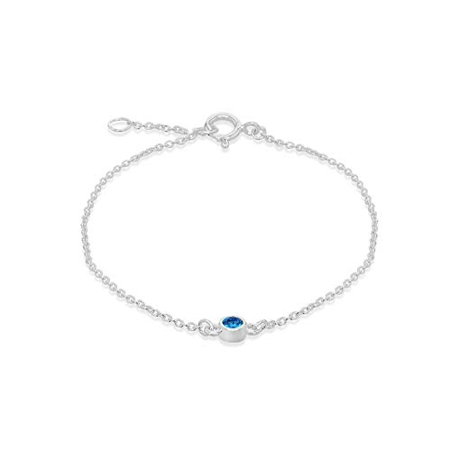 Tuscany Silver Pulsera Ajustable para Mujer - Plata de Ley (925) con Piedra Natal de Diciembre en Circonita Celeste - 16 cm / 18 cm