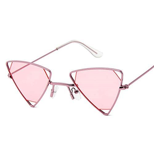 DLSM Gafas de Sol de triángulo Hueco de aleación Retro Hombres Punk Eyewear Candy Colors PRIGUDENTES Vintage Gafas de Sol góticas para Las Mujeres-Rosa Rosa
