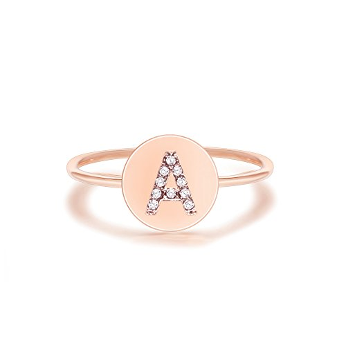 PAVOI 14K Rose Gold Plated Initial Ring Stackable Rings for Women | Fashion Rings - A Ring