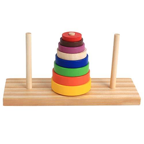 YeahiBaby 1 set puzzle di legno colorato anello impilamento torre di sviluppo giocattoli educativi per bambini