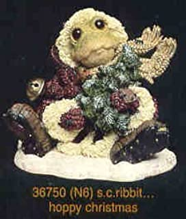 Boyds Wee Folkstone S.C. Ribbit...Hoppy Christmas Figurine by Boyds Bears & Friends - The Wee Folkstone Collection