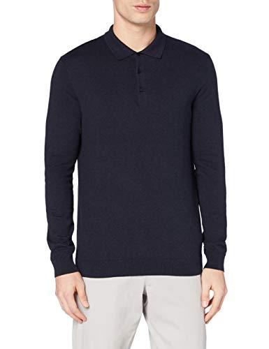 Amazon-Marke: MERAKI Herren Pullover Long-sleeve Polo, Blau (Navy), M, Label: M