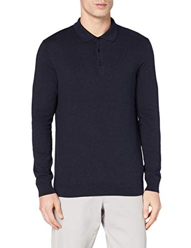 Amazon-Marke: MERAKI Herren Pullover Long-sleeve Polo, Blau (Navy), M, Label: M