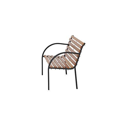 Siena Garden 2er Bank Menorca, 122x62x80cm, Gestell: Stahl, pulverbeschichtet in schwarz, Fläche: Hartholz in natur - 3