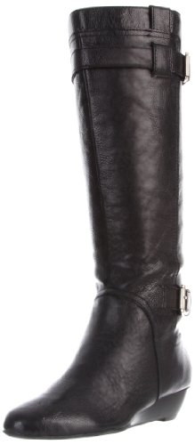 Hot Sale Nine West Women's Kenway Knee-High Boot,Black Leather,9 M US