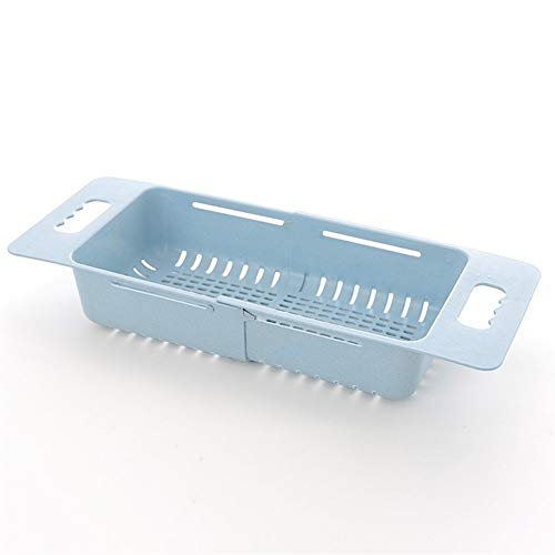 Piatti da tavola in plastica scolapiatti regolabile per lavandino, scolapiatti con cannuccia scolapiatti per verdure, frutta e stoviglie, cesto portaoggetti da cucina (colore: blu)