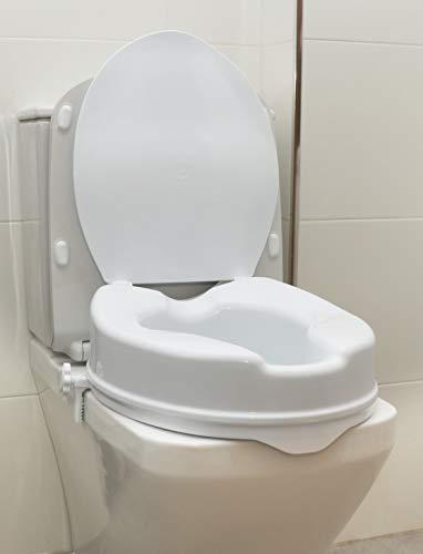 OrtoPrime Elevador WC Adulto Con Tapa - Altura 10 cm - Asiento de Inodoro Ortopédico con cierres Laterales de Seguridad - Alzador WC Universal Adaptable - Alza Inodoro