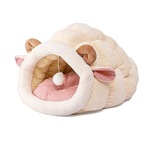 Casa de Caza de Gato Divertido Sleep Cat Snail Cojín Cojín Cojón Pequeño Perro Cat House Cojín Cojín Pet Tienda Tienda Kennel Cat Supplies Cesta Tibia (Color : White Sheep, Size : Medium Size)