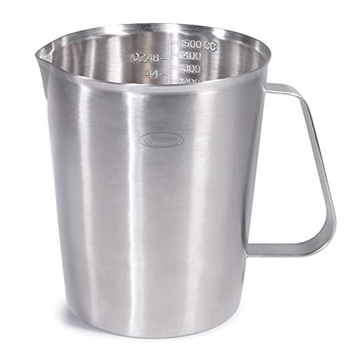 Newness Messbecher Edelstahl, 1500 ML [3 Messskalen, einschließlich Cups Skala, ML Skala, OZ Skala] Edelstahl-Messbecher Milchkännchen mit Markierung mit Griff, Messkanne Milk Pitcher