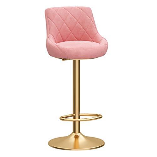 Set di sgabelli da bar moderni | Sedile in velluto | Gamba in metallo dorato | Poggiapiedi e base cromati per banconi bar da cucina per cucina da bar per la colazione (verde/blu/grigio/rosa, 1pz)