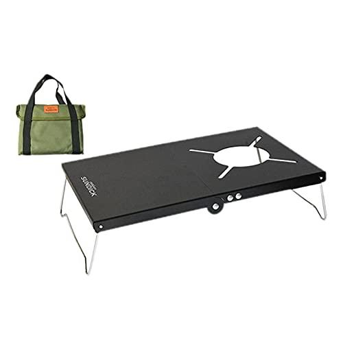 Sharplace Mesa de Cocina Plegable portátil para Camping, Soporte de Soporte, Parrilla de Barbacoa, Escritorio de Picnic Plegable con Organizador de - Negro