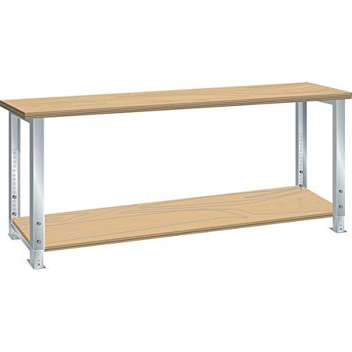 Lista Werkbank komplett, Buche-Multiplex-Arbeitsplatte - Höhe 740 – 1090 mm, mit Ablageboden - Breite 2000 mm - Arbeitstisch Werkbank Werkstattsystem Werktisch