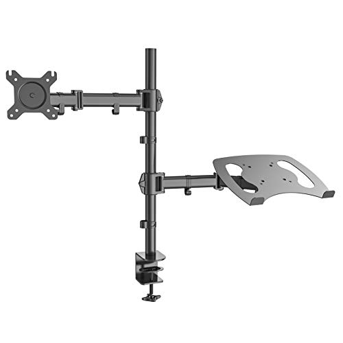 HFTEK - HF282LM - Monitor Halter Tischhalterung für Bildschirme von 13 bis 27 Zoll mit VESA 75/100 - vollbeweglich - höhenverstellbar + Halterung für Laptop - Notebook - Tablet - iPad