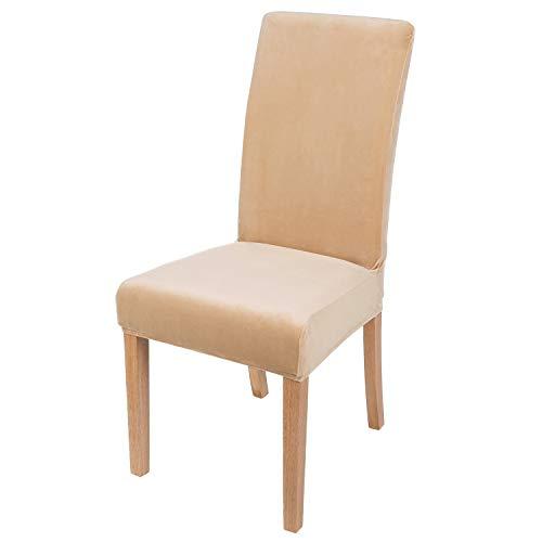 smiry Velvet Stretch Esszimmer Stuhlhussen, Weiche abnehmbare waschbar Esszimmerstühle Schonbezüge, 2er Set, Beige