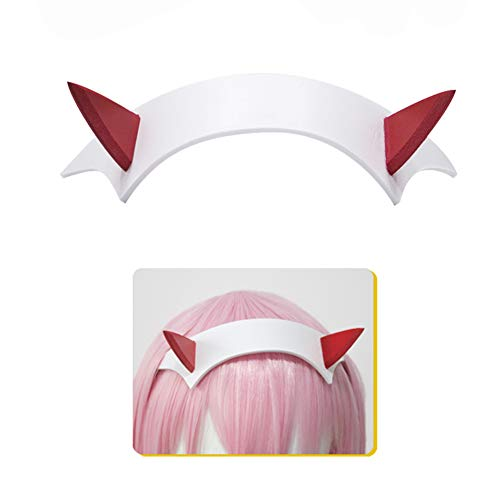 SUNXXCOS High Temperature Fiber full short hair cosplay wigs DARLING in the FRANXX anime synthetic for woman hair (ZERO TWO headwear)