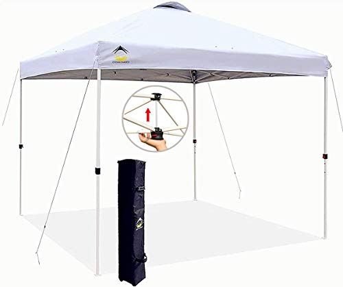 CROWN SHADES 10x10 Pop up Canopy Outside Canopy, Patented One Push Tent Canopy with Wheeled Carry Bag, Bonus 8 Stakes and 4 Ropes, White