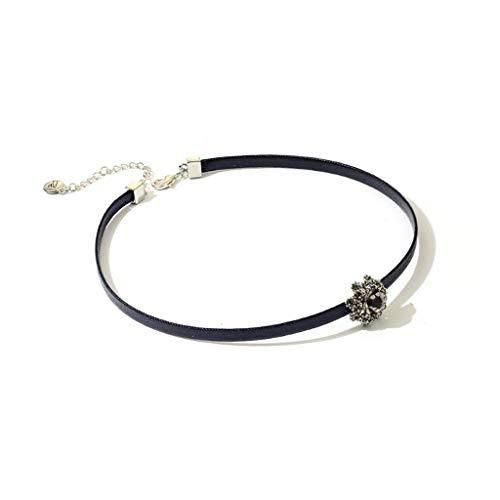 LTCTL Collar Collar de Cuello de cordón Trenzado Negro con Colgante de circón para Mujeres, decoración Exquisita de Moda, Excelentes Regalos para Mujeres niñas-Negro Regalo Collar