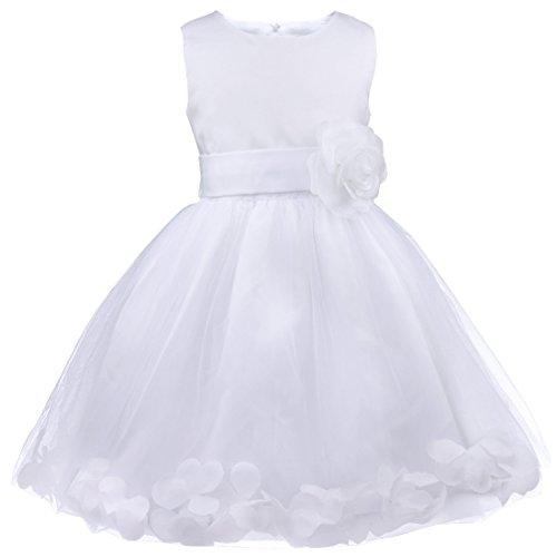 IEFIEL Robe Demoiselle d'honneur Enfant Jupe Loose Pétales Noeud Papillon au Dos Fleur Robe Cérémonie Bébé Filles 2-14 Ans Blanc 5 Ans