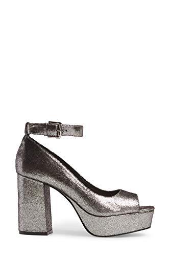 Shellys London Florida Platform Heel Silver 38 (US Women's 7.5) M