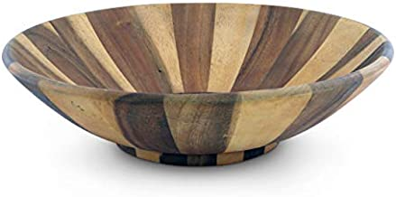 Arthur Court Salad Bowl Acacia Wood Serving for Fruits or Salads Wok Wave Style Extra Large 16 inch Diameter x 4.5 inch Tall