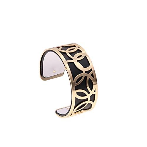 JINKEBIN Pulsera Brazaletes de brazaletes de Cuero de Cuero Intercambiables de 25 mm con Color Dorado Amor con Forma de aro mancheta Femme Bijoux Pulsera para Mujeres (Metal Color : WZ0206)