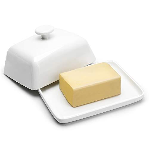 Sweese 314.101 Butterdose Porzellan, Klassische Butterschale für 250 g Butter, Groß, Weiß
