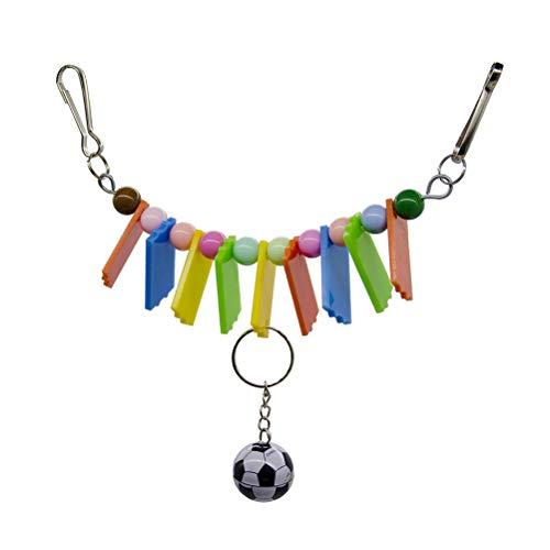 TEHAUX Bird loro- Color acrílico masticar fútbol juguetes loro productos aves jaula accesorios colgante cadena