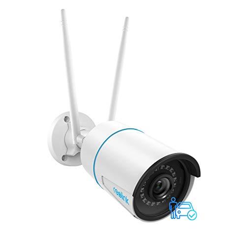 Reolink 5MP WLAN Überwachungskamera Outdoor, 2,4GHz/5GHz WLAN CCTV IP Kamera mit Personen-/Fahrzeugerkennung, IP66 Wetterfest, Nachtsicht, Bewegungserkennung, microSD-Kartenslot, Zeitraffer, RLC-510WA