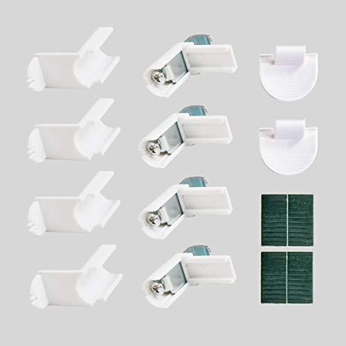 SBATAR Plissee Metall Zubehörbox für Rollläden ohne Bohren klemmfix Jalousie Easyfix Faltrollo Crushed Optik Lichtdurchlässig Rollo Wabenrollläden inkl. Klebepads