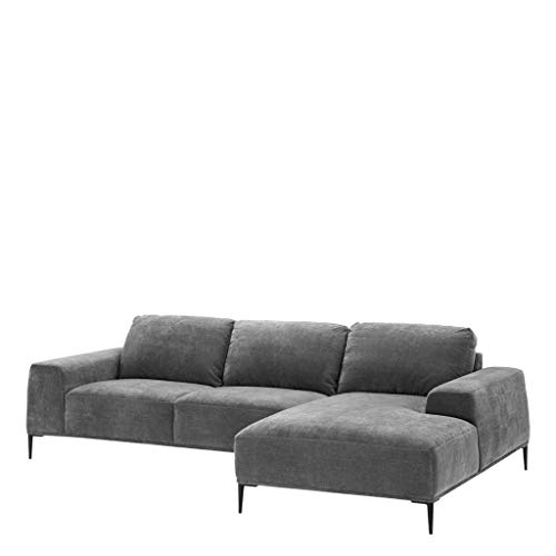 Eichholtz Gray Lounge Sofa MONTADO   Gray Velvet Living Room sectional Chaise Couch   Modern Luxury Furniture