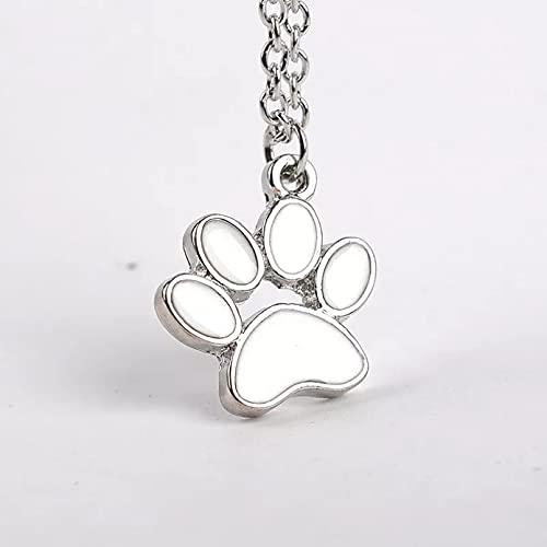 collar Colgante Collar con forma de corazón de amor con estampado de animales, collar con colgante de pata de oso para perro mascota, collar con estampado de pata de animal cortado con papel regalo