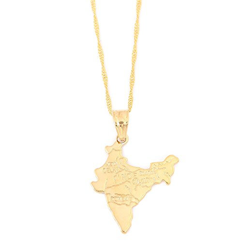 Gold Plated Republic of India Map Pendant Necklace Chain Map Jewelry