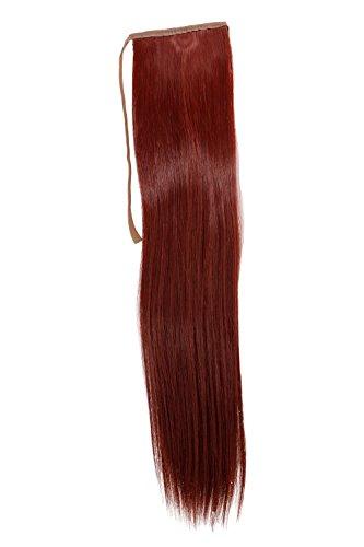 Postiche, queue étroite, queue de côté, Cosplay, rouge lisse 18inch/ 45cm YZF-TS18-35 Band Extension capillaire à pince