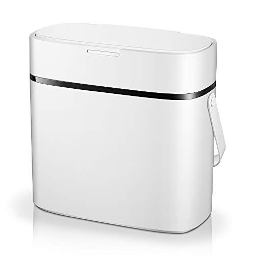 Homfa Mülleimer, Druckdeckel Abfalleimer, Abfallsammler, Mülltrennsystem mit 2 Fächern, Müllbehälter mit Handgriffen und Duftende, weiß