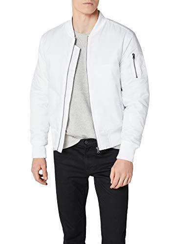Urban Classics TB861 Herren Jacke - Basic Bomber Jacket, Bomberjacke mit aufgesetzter Tasche und Zipper am Arm, Weiß (white 220), Gr. Large