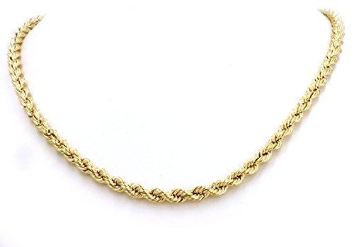 Collana unisex in oro giallo 18carati/750, forma a corda, 2,50 mm di larghezza, lunghezza a scelta, Oro giallo, colore: oro giallo, cod. corda-18-2