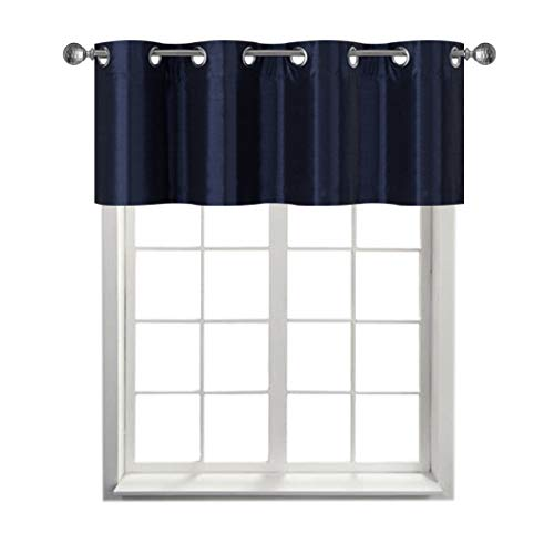 Rama Rose Faux Silk Blackout Curtain Valance with Grommets - Window Valence for Living Room,1 Panel, 52 X 18 Inch, Navy