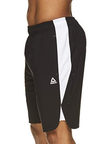 Reebok Men's Lightweight Workout Gym & Running Shorts w/Elastic Drawstring Waistband & Pockets - 9 Inch Inseam - Black/Stark White Mars Training, Large