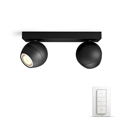 Philips Hue Led Spot Buckram uitbreiding, dimbaar, alle witschakeringen, bestuurbaar via app, wit, compatibel met Amazon Alexa (Echo, Echo Dot)