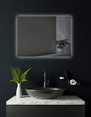 HOKO® Badezimmer Spiegel Worms. Mit ANTIBESCHLAG SPIEGELHEIZUNG und Digital Uhr! 80 x 60 cm im Quer Format (WEEE-Reg. Nr.: DE 40647673)