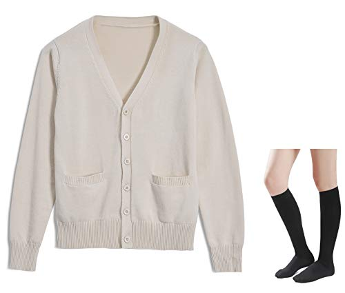 Long Sleeve deep V-Neck Knitted Button up Cardigan Sweater Anime Japanese School Girl Uniform with Socks Set(Light Apricot M)