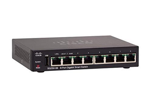 Cisco SG250-08 Gigabit-Smart Switch mit 8Ports (SG250-08-K9-EU)