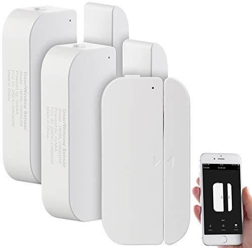Luminea WLAN Türsensor: 3er-Set WiFi Tür & Fensteralarm, Alexa und Google Assistant komp. (Fenstersensoren)