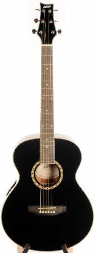 Ashton SL29BK Schlanker Körper Akustik Gitarre mit eingebauten Tuner schwarz