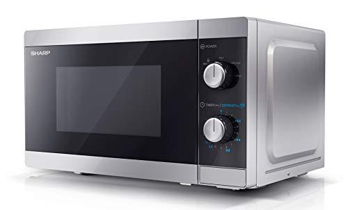 SHARP YC-MS01ES Mikrowelle mit Auftaufunktion/ 800 Watt/ 20 Liter/ 5 Leistungsstufen /Inkl. Drehteller, Mechanische Steuerung