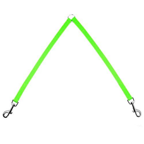 Neon Grün Koppel 2x35cm Koppelleine Hundeleine für 2 Hunde Zwillingsleine Verbindungsleine