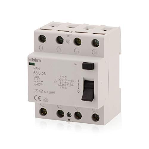 Interruptor diferencial RCCB, 63 A, tipo A, 4 polos, 30 mA, 230/400 V, ofrecen una protección eficaz.