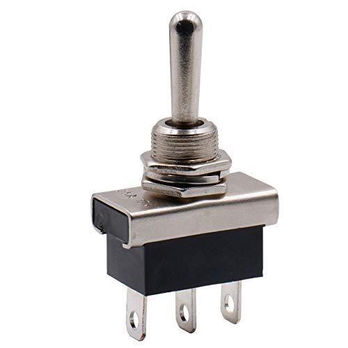 Heschen - Interruptor basculante metálico resistente flick flip 25 A 12 V SPDT ON/OFF/ON 3 posiciones, 3 pines para indicador de coche