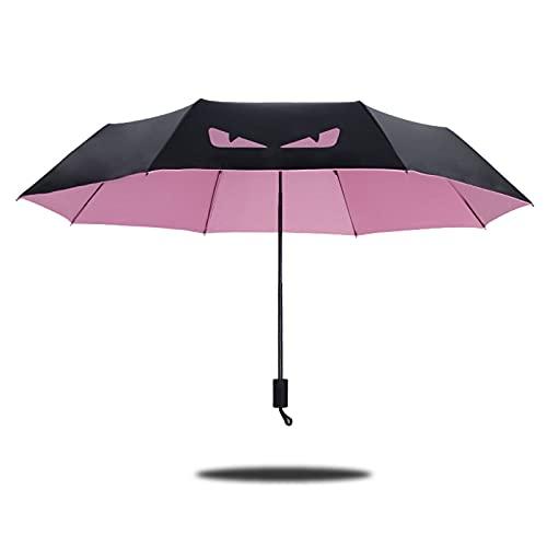 ShenMiDeTieChui Klappabschirm, Kleiner Teufel sonniger Regenschirm, schwarzer Gummi-Regenschirm, Sonnencreme ultraviolett dreifache Regenschirm, UV-Schutz (Color : Pink)